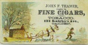 1870's-80's John F. Teamer Fine Cigars Tobacco Winter White Horse Sled P108