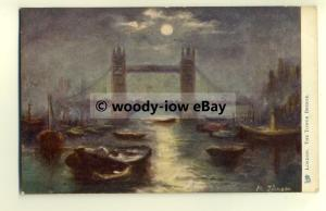 tp8525 - London - The Tower Bridge and Boats, by M. Johnson - Postcard - Tuck's