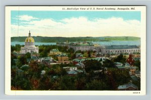Annapolis MD-Maryland, Birds Eye View Of US Naval Academy, Linen Postcard