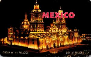 Mexico City Night View Of The Cathedral Of Mexico City 1974