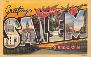 Salem Oregon~Large Letter Linen Postcard~Red Roses~Silver Creek Waterfall~1939