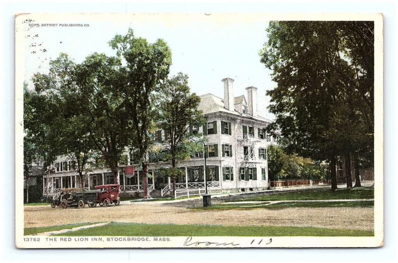 Postcard MA Stockbridge The Red Lion Inn 1913 View Detroit Publishing G13