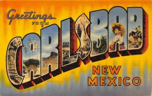 Carlsbad New Mexico~Large Letter Linen Postcard~Caves~Yucca~Desert~Cowboys~1940s
