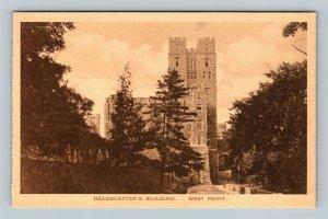 West Point NY, Headquarters' Building, Albertype Vintage New York c1930 Postcard