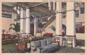PENSACOLA, Florida, 1930-1940's; View Of Lobby, San Carlos Hotel