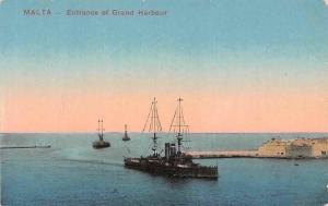 Malta - Entrance of Grand Harbour, Ships, Boats at Sea, Port 1917