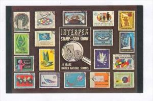 United Nation stamps on postcard, 50-60s