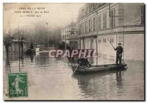 Old Postcard Crue of the Seine Port Marly Paris Street
