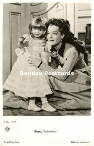 Movie Film Actress ROMY SCHNEIDER with Little Girl (1950s) Ufa Film RPPC