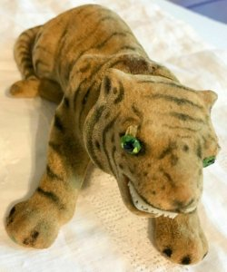 "Vintage Felt Tiger Bobble Nodding Head 8"" Green Eyes Teeth Unusual   SKU 043-106"
