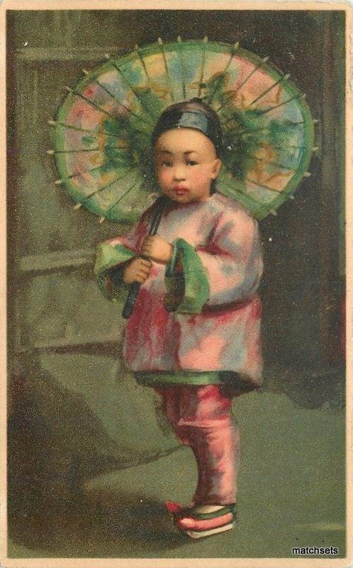 C-1910 Chinese Child Parasol Ethnic Dress postcard 956
