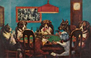 Dogs playing cards, 40-60s; Bulldog is cheating