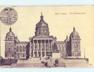 Unused Divided-Back STATE CAPITOL BUILDING Des Moines Iowa IA HM5953