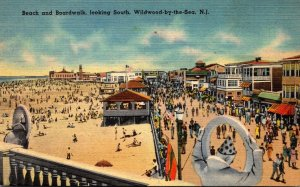 New Jersey Wildwood by the Sea Beach and Boardwalk Looking South 1946