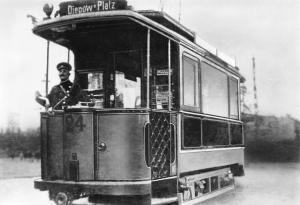 Triebwagen 24 in Sandow 1908, Cottbuser Strassenbahn Tram Diepow Platz