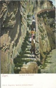 italy, CAPRI, La Scala di Anacapri, Head Transport 1899