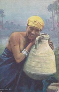 Egypt Girl With Water Jug In Traditional Costume 1907 Tucks