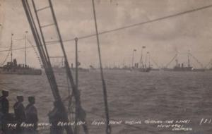 The Royal Naval Review Southsea Yacht Sailing In Military Lines Antique Postcard