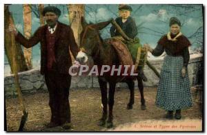 Old Postcard Donkey Pyrenees