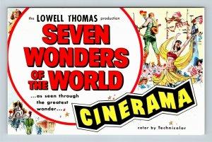 Detroit MI, Seven Wonders of the World, Cinerama, Michigan, Chrome Postcard