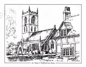 Postcard Art Sketch St Peter's Church WELFORD ON AVON, Warwickshire #W