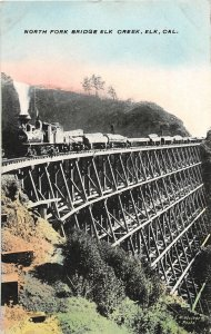 G26/ Elk California Postcard c1910 Elk Creek Bridge North Fork Railroad