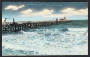 West Palm Beach FL Medley Pier 1930s-1940s Linen Postcard by Kropp