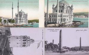 Constantinople La Tour De Galata Hippodrome Mosques 4x Antique Postcard s