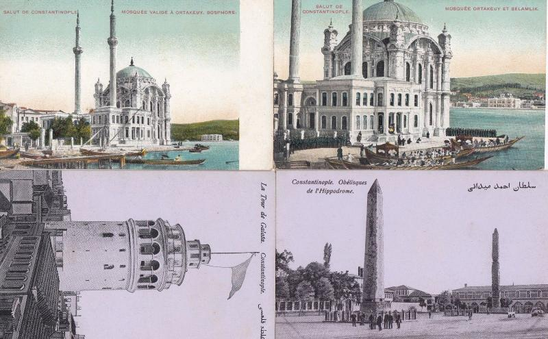 Constantinople La Tour De Galata Hippodrome Mosques 4x Antique Postcard s