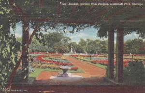 Illinois Chicago Sunken Garden From Pergola Humboldt Park Curteich