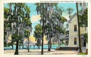 Valdosta Georgia~Ocean Pond Hunting Fishing Club~Spanish Moss~1939 Postcard