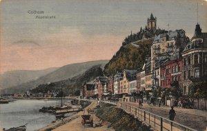 Cochem Moselstrasse Street River Boats Tower Postcard