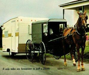 Advertising Shasta Industries Travel Trailer Horse Buggy UNP Vtg Chrome Postcard