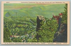 Middlesboro Kentucky~Cumberland Gap Atop Pinnacle Mt~Vintage Postcard