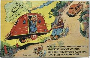 C. T. & Co. Vivid, mint quality, Trailer Comics Curteich-Chicago. Humour card.