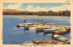 Mont Vernon New Hampshire Row Boat Waterfront Greeting Antique Postcard K85465