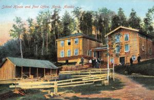 Anvik Alaska School House Post Office Antique Postcard K103892