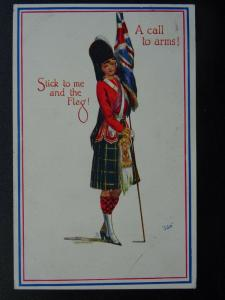 A Call to Arms STICK TO ME AND THE FLAG! c1915 Postcard by Raphael Tuck 8772