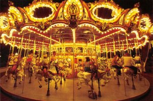 DISNEYLAND King Arthur Carousel Merry-Go-Round Continental Vintage Postcard