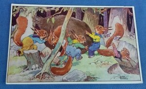 Vintage Bamforths Postcard Squirrelquins Series No.1 Preparing For Winter  B1C