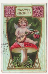 PC59 JLs 1908 postcard valentines cupid mushroom music