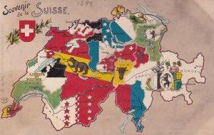 Switzerland 1899 Victorian Map Carte Antique Postcard