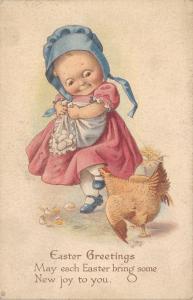 Easter~Big Eyed Little Girl in Blue Sunbonnet~Steals Eggs From Hen~No 80~Artist