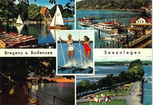 Bregenz am Bodensee Seeanlage Harbour Boats Lake Promenade Postcard