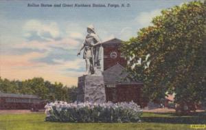 North Dakota Fargo Rollon Statue and Great Northern Railway Station Curteich