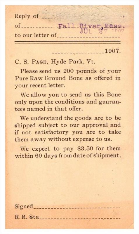 Vermont Hyde Park  C.S.Page, order of item