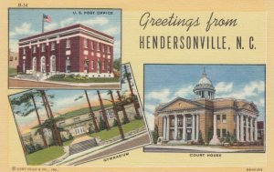 HENDERSONVILLE, North Carolina, 30-40s; Post Office, Court House & Gymnasium