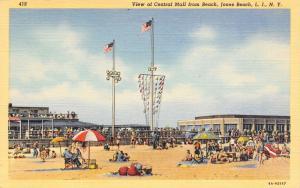 Jones Beach Long Island New York~Folks on Beach~Umbrellas & Pennants~1936 Linen