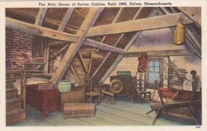 Massachusetts Salem The Attic House Of Seven Gables Built 1668
