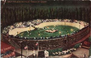 Salt Palace Bicycle Track at Night Salt Lake City UT Utah Postcard E51